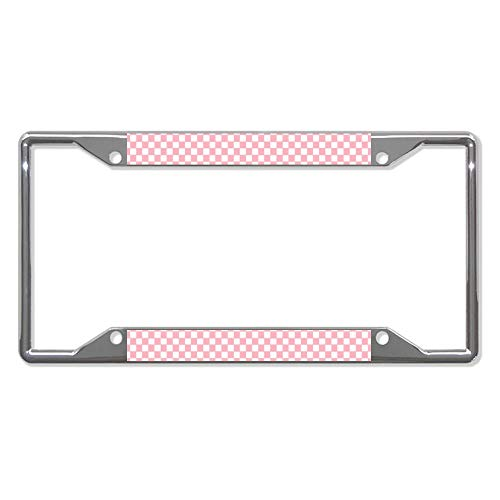 """UTF4C Monogrammed White Checkerboard On Pink Car License Plate Frame - Chrome Metal Auto License Plate Frame Tag Holder Frame Cover - 12""""X6"""" for Universal Cars"""