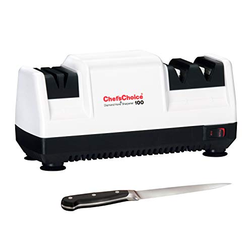 Chef'sChoice Diamond Hone Electric Knife Sharpener for Stainless or Non-Serrated Knives, 3-Stage, White