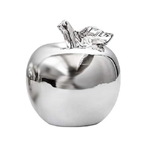 SODIAL Figuras de Manzana de CeráMica DecoracióN de Frutas Navide?As Modelo de Manzana Adornos Figuras Accesorios DecoracióN del Hogar-Plata