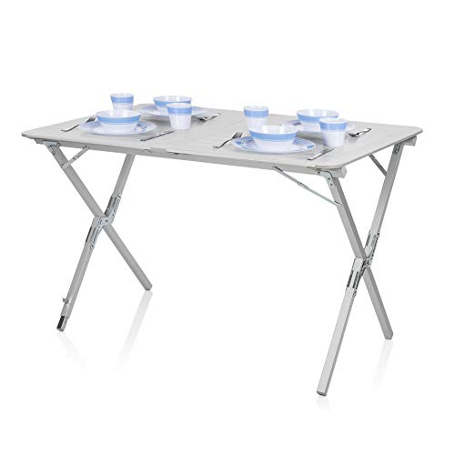 Campart Tavolo Pieghevole da Giardino e Campeggio TA-0802, 110 x 70 cm, Ideale per esterni, Alzata avvolgibile, Alluminio leggero e resistente
