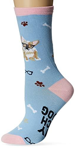 K. Bell Women's Dog Lover Novelty Casual Crew Socks, French Bulldog (Light Blue), Shoe Size: 4-10