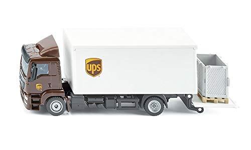 SIKU 1997, MAN LKW mit Kofferaufbau und Ladebordwand, 1:50, Metall/Kunststoff, UPS-Design, Absenkbare Heckklappe, Inkl. Zubehör