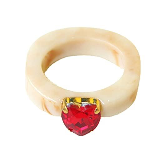 XPT Anillo redondo de resina para mujer, diseño de corazón con diamantes de imitación, color de caramelo, para citas, bodas, color blanco