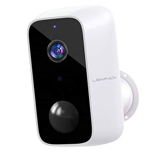 10000mAh Telecamera Wifi Esterno Batteria, Lemnoi A100 Telecamera di Sicurezza Senza Fili 1080P con Visione Notturna, Rilevamento Movimento PIR, Audio Bidirezionale, IP65 Impermeabile