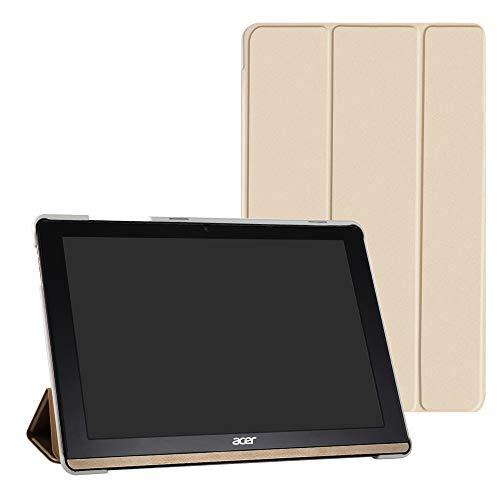 Schutzhülle für Acer B3-A50 (schlankes Design, besonders leicht, PU-Leder, mit Standfunktion) für Acer Iconia One 10 B3-A50 Tablet (nicht passend für Acer A3-A50), goldfarben