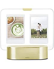 """Umbra Glo Glass Photo Display Lights Up/Glows, LED Picture Frame, 2"""" X 3"""", Matte Brass"""