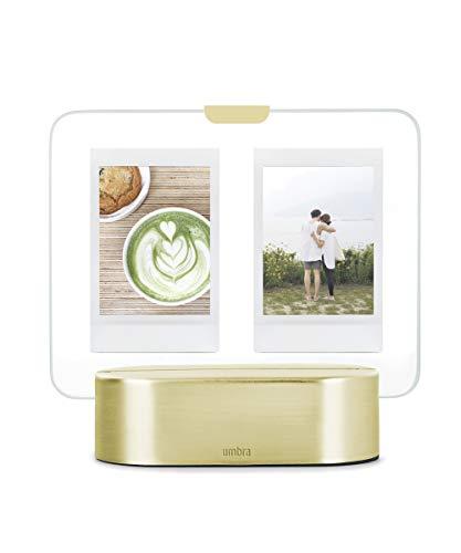 Umbra GLO Instant iluminación LED, Marco de Cristal Iluminado para Dos Fotos Polaroid de 5 x 7,5 cm, Metal, Latón Mate, 5x7,5