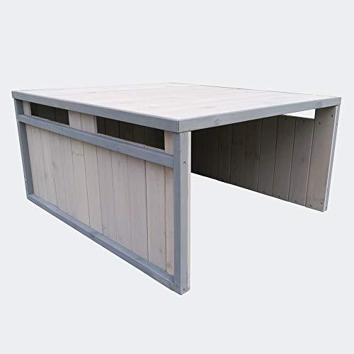 Wiltec Mähroboter Holzgarage Flachdach Massivholz Unterstand Carport Grau 80x70x38cm