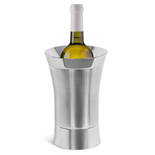 BirdRock Home Stainless-Steel Wine Chiller - Elegant Double Wall Bucket - Single Insulated Bottle Holder - Wine or Champagne Cooler for Table - Wine Accessories - Indoor or Outdoor - Silver