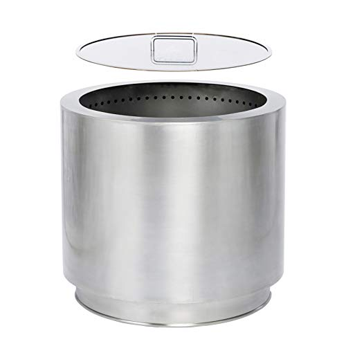 Hi-Flame Bonfire Stove Fire Pit 20.5 Inches All Stainless Steel Heavy Duty Outdoor Smokeless Firepit with Lid Portable Backyard Natural Wood Burning Firebowl, Silver Color