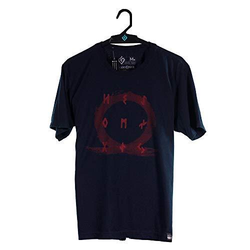 Camiseta Logo & Runes, God of War, Adulto Unissex, Preto, PP