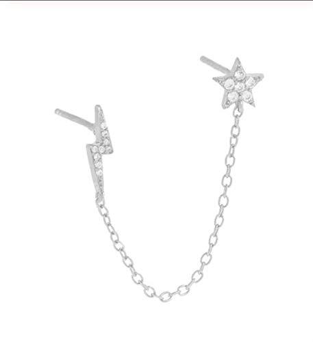 FKJSP 1 pieza de pendientes de cadena para esposas, pendientes de eslabones reales para mujeres/niñas (color de la gema: 8)