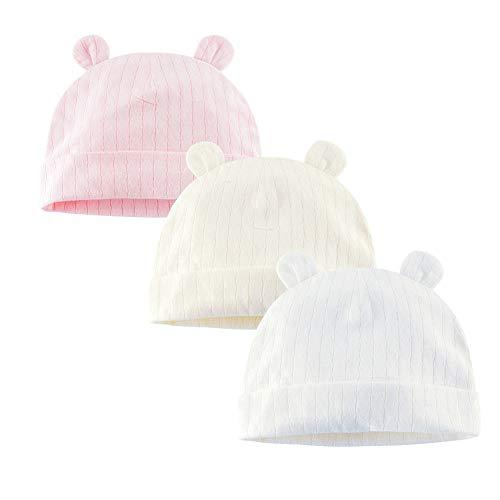 Juzzae Pack de 3 gorros de algodón para niños y niñas, orejas de oso recién nacido, gorros de algodón para bebés