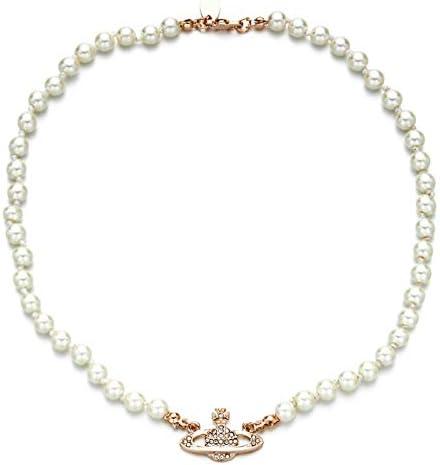 Valensha Ladies Fashion Modern Pearl Rhinestone Necklace Atificial Pearl Glittering Saturn Pendant product image