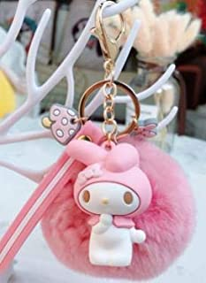 TREGIA Anime My Melody Pudding Cinnamoroll Dog Cat Fur Ball Keychain Cute Animals Plush Keychain Bag Charm Pendant Keyring for Girls Holiday Must Haves 4 Year Old Boy Gifts Boys Favourite Characters