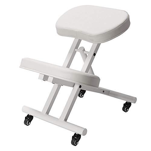 Modern Home Ergonomic Rolling Kneeling Posture Chair - White/White