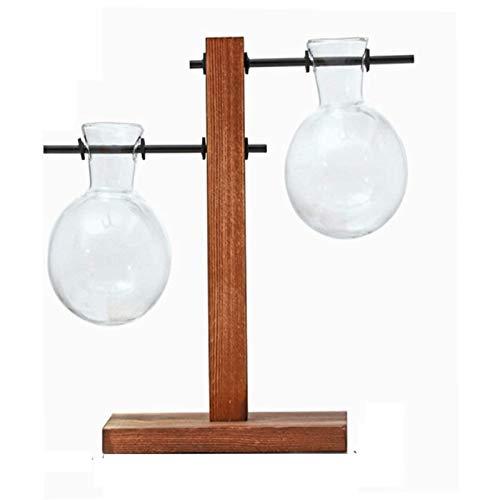 HPiano Desktop Glas Übertopf Vase, Leuchtmittel Vasen Retro Solid Holz Ständer Hydrokultur Pflanzen Home Garten Hochzeit Dekor Tischdekoration 2 Terrarium