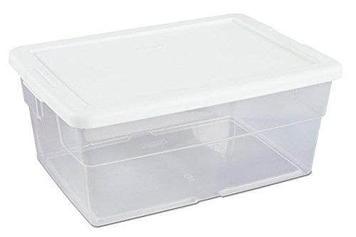 Sterilite 16448012 16 Quart/15 Liter Storage Box, White Lid with Clear Base, 24 Pack
