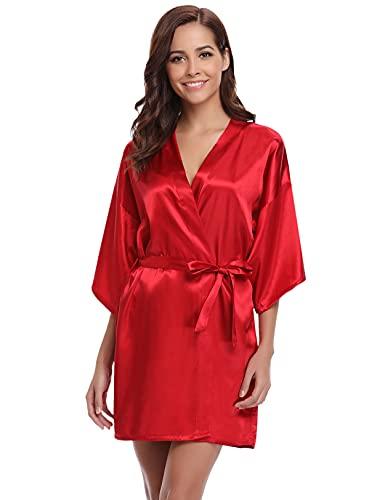 NC Kimono Bata Mujer para Satén,Bata Mujer Sexy 100% Poliéster Bata Mujer Saten Kimono Dama de Honor con Cinturilla, Kimono Mujer Verano Suave(Vino Tinto,L
