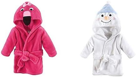 Hudson Baby Girl Plush Animal Face Bathrobe 2-Pack, Flamingo Snowman