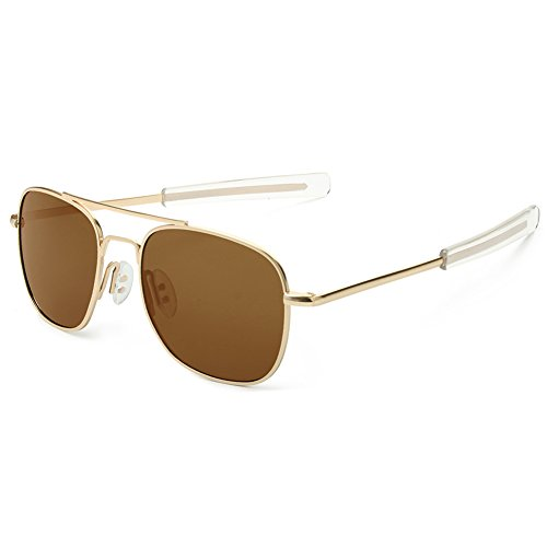 WELUK Men's Pilot Aviator Sunglasses Polarized 55mm Military Style with Bayonet Temples (Gold/Brown, 55)