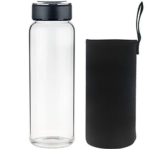 SHBRIFA Sports Glas Trinkflasche, Borosilikat Glas Wasserflasche mit Neopren-Hülle und Edelstahldeckel, 1000 Black
