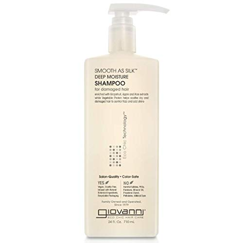 GIOVANNI Smooth as Silk Deep Moisture Shampoo (Apple + Aloe Extracts), Hydrates and Calms Frizz, Detangles, Wash & Go, Curly & Wavy Hair, Sulfate & Paraben Free, Color Safe, Lavender, 24 Fl Oz