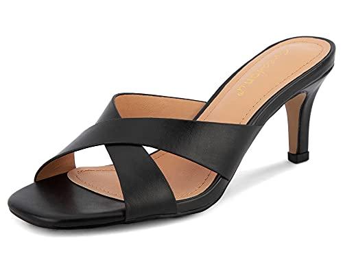 Greatonu Women Square Toe Mules Low Heels Slip On Cross Strap Slide Black Kitten Heels Sandals Size 9 US