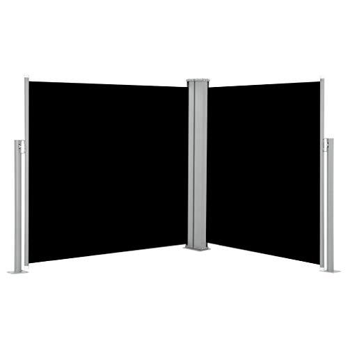 yorten Ausziehbare Seitenmarkise Standmarkise UV- und Wasserbeständig Seitenrollo Balkon und Garten Windschutz und Sichtschutz Doppelseitenmarkise 120 x 600 cm Schwarz