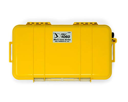 PELI 1060 Estuche Protector Resistente al Agua para teléfono móvil y pequeños Objetos valiosos, IP67 estanco, 1,3L de Capacidad, Fabricado en EE.UU, Color Amarillo/Color Negro