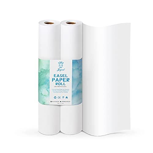 Joyooss, rotolo di carta da disegno, bianco, 41 cm x 25 m, ideale per pitture, schizzi artistici, progetti di carta, fai da te, carta da regalo per bambini, confezione da 2