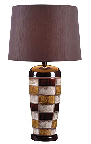 Kenroy Home 32273CER Torino Table Lamps, Ceramic Multicolor Squares Finish