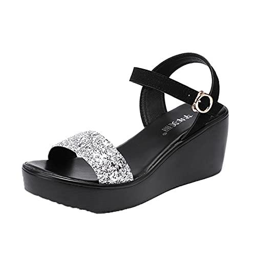 Sandalias de cuña para mujer con hebilla ajustable correa al tobillo Peep Toe Sparkle lentejuelas impermeables zapatos de plataforma astilla, plateado, 35.5 EU