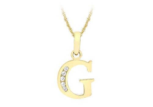 Carissima Gold Collana con Pendente da Donna in Oro Giallo 9K (375) con Zirconia Cubica, Lettera G