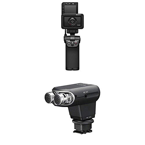Sony DSC-RX0M2 Ultrakompakte Digitalkamera (15, 3 MP, Zeiss F4 24mm Weitwinkelobjektiv, 1 Zoll Sensor) incl. VCT-SGR1 Griff + Stereomikrofon für Camcorder mit Multi-Interface-Zubehörschuh