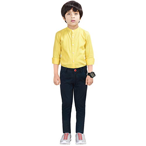 Made In The Shade Boy's Slim Fit Solid Chino Trouser with Adjustable Waist Elastic, 100% Cotton, Navy