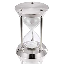 30 minute Hourglass Sand Timer, Antique Small Sand Clock, Silver Metal Vintage Sand Watch 30 Min, Unique Retro Glass Reloj De Arena with White Sand for Home, Desk, Office, Wedding Vintage Decorative