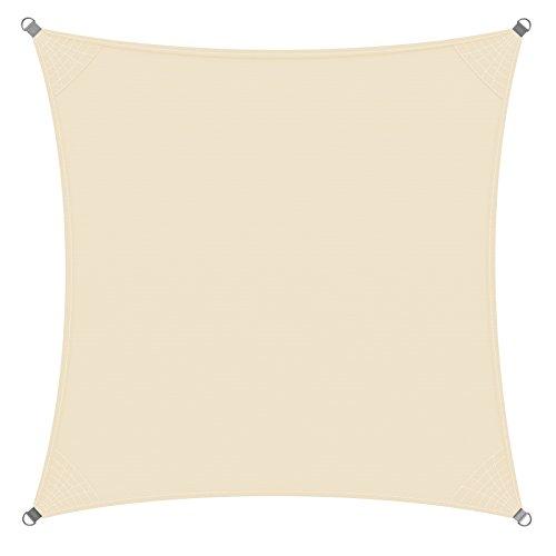 Detex Sonnensegel Sonnenschutz Windschutz Oxford Gewebe wasserabweisend & windabweisend UV50-Schutz Quadrat 3x3m 7-Fach quer vernäht robust & stabil