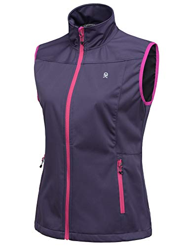 Little Donkey Andy Women's Lightweight Softshell Vest, Windproof Sleeveless Jacket for Running Hiking Travel, Purple XS