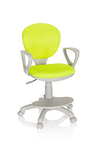 hjh OFFICE 671011 Kinderdrehstuhl Kid Colour G1 Stoff Grün/Grau Bürostuhl Kinder, Fußablage & Sitzfläche höhenverstellbar
