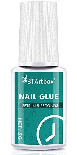 Nail Glue for Acrylic Nails - Brush-on Nail Glue for Press On Nails BTArtbox Adhesive Super Bond for False Acrylic Nail Art Long Lasting, 0.176 oz