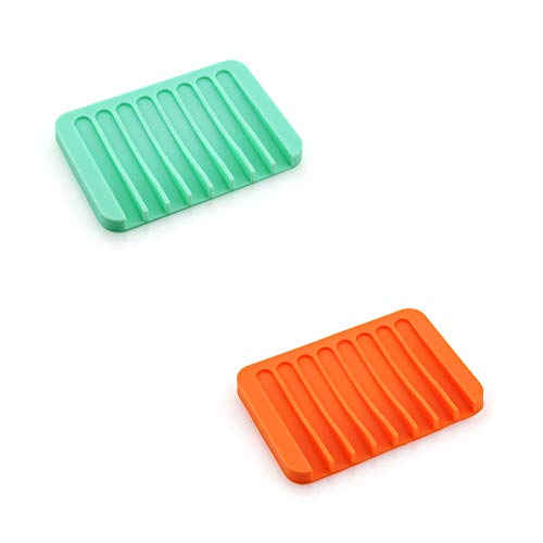 LHQ-HQ 2 jaboneras autodrenantes, Soporte de Silicona para jabón, Protector de jabón para Ducha, baño, Cocina, bañera, maquinilla de Afeitar, esponjas, fácil Limpieza,F
