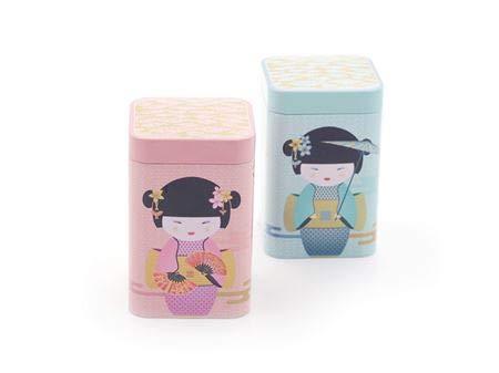 Cha Cult Dose New Little Geisha, 100 g eckig, Stülpdeckel, 2-Fach Sortiert 10,7 x 7 x 7 cm