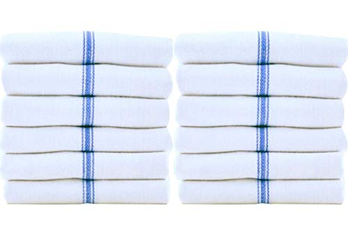 Kitchen Towels, 15-Pack 100% Cotton - Herringbone Weave - Dish Towels, Tea Towels 15x26 inches Flour Sack Towels - Makes Great Bar Towels (Blue Center Stripe, White) By American Towels & Linens