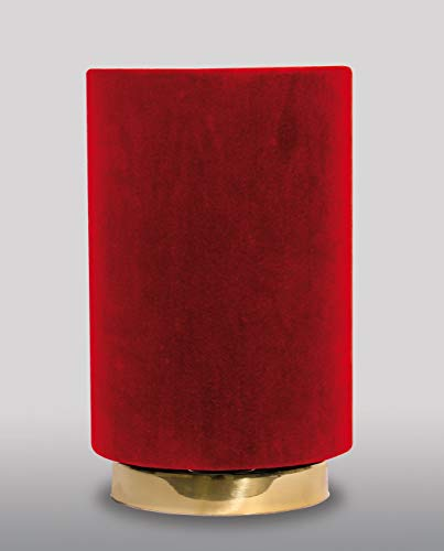 Samt Tischleuchte SOFIS Messingfuß in Rot Handarbeit dekorative Tischlampe Nachttischleuchte