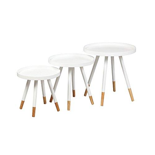 Tousmesmeubles Tables gigognes Laque Blanche - CLOP - L 46 x l 46 x H 48 - Neuf