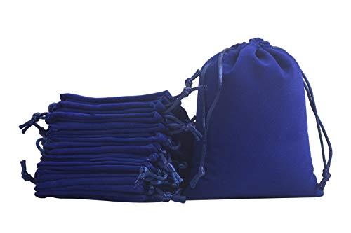 KONMAY 10 Stück Königsblau weicher Samtbeutel Schmuckbeutel mit Kordelzug, 17x23cm Samt Säckchen Hochzeit Party Geschenksäckchen