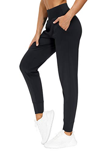 THE GYM PEOPLE Womens Joggers Pants with Pockets Athletic Leggings Tapered Lounge Pants for Workout, Yoga, Running, Training (Medium, Black)