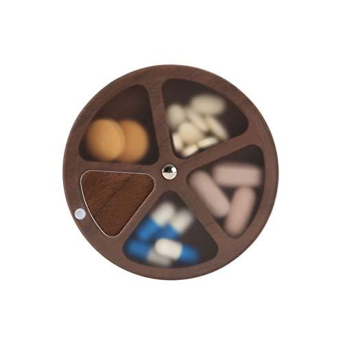 Caja de pastillas de madera redonda, estante de almacenamiento de múltiples funciones de la joyería para el organizador del reloj del escritorio en casa Estante del guardarropa Hombres Mujeres Estante