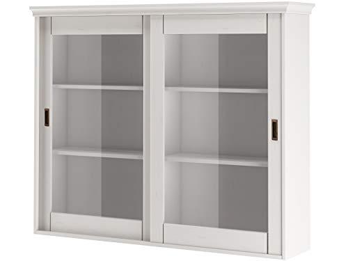 Loft 24 A/S Buffetaufsatz Aufsatz mit 2 Türen Vitrine Vitrinenschrank Glasvitrine Wohnzimmer Schrank viel Stauraum (weiß lackiert)